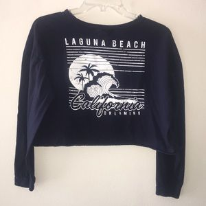 Navy Laguna Beach California Cropped L/S T-Shirt